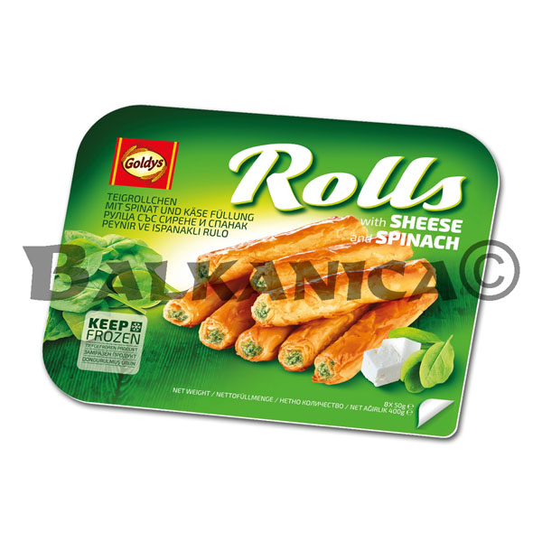 400 G SMALL BANITSA CHEESE AND SPINACH ROLLS GOLDYS