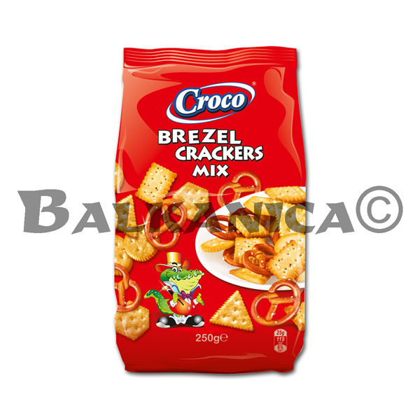 250 G CRACKERS AND PRETZEL STICKS MIX CROCO